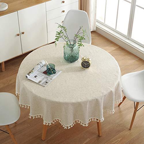 meioro Color Sólido Borla Mantel Mantel Redondo Algodón Lino Mantel Adecuado para la Decoración de la Cocina del Hogar, Varios Tamaños