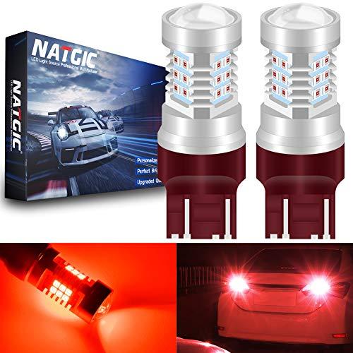 NATGIC 7443 7444NA 7441 992 T20 Del Ampoules Red 21 - EX 2835 SMD avec projecteur à lentille pour Feux de recul de Frein Stop, 10-16V 10,5W (Pack de 2)
