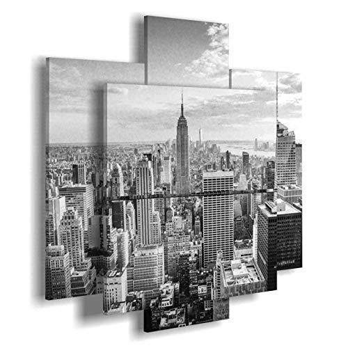 duudaart Quadro Camera da Letto New York 29 multilivello 3D componibili trittico Moderni Bianco Nero con
