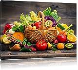 Pixxprint Frutta Fresca e Verdura nel Cestino Stampa su Tela...
