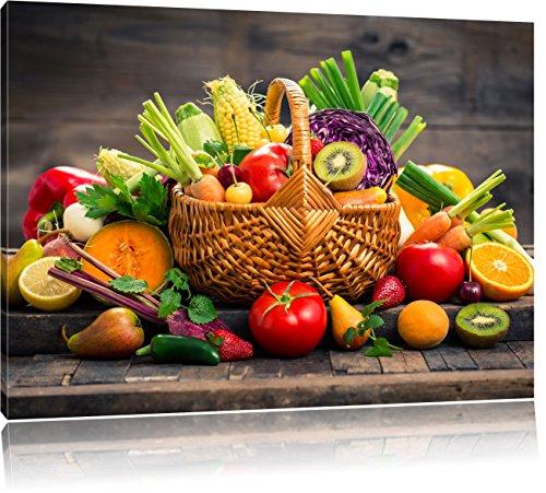 Pixxprint Frisches Obst und Gemüse im Korb, Format: 100x70 auf Leinwand