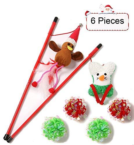 Weihnachtsspielzeug Zauberstab Katzenspielzeug Set Interaktives Spielzeug mit 2 Angeln + Rentier + Weihnachtsmann und 4 Knisterbällen Katze