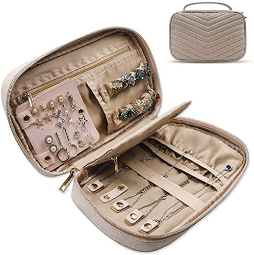 KELITINAus - Borsa portaoggetti da viaggio portatile, in camoscio sintetico, per collane, orecchini, anelli, bracciali, rosa/rosa