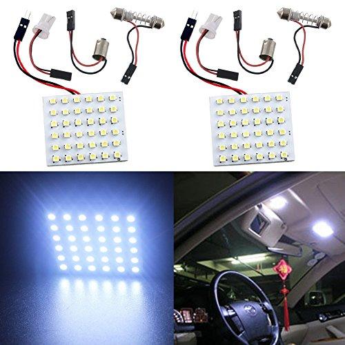 Taben Lot de 2 plafonniers LED 1210 36SMD + adaptateur navette T10 BA9S Blanc