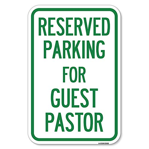 """SignMission Parking for Guest Pastor 12"""" X 18"""" Heavy-Gauge Aluminum Rust Proof Parking Sign Protect Your Business & Municipality Made in The USA A-1218-23102"""