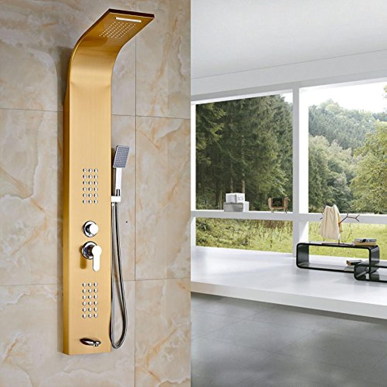 Galvanik Retro Wasserhahn Wandhalterung Gold poliert Badewanne Dusche Set Niederschlag & Wasserfalldusche Spalte Einhebelmischer, Gelb