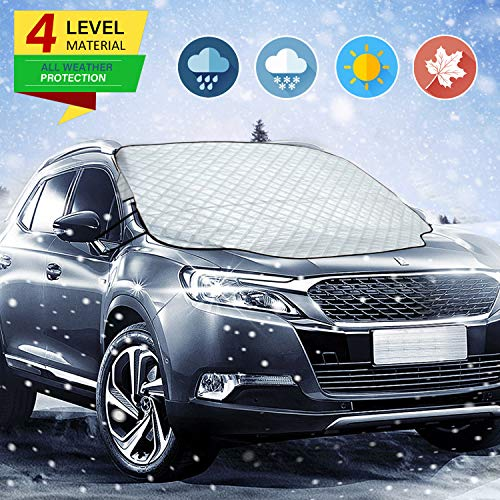 Zmoon Ice Cover for Car, Car Windshield Snow Cover for SUV Frost Cover Sunshades with Magnetic Edges Guard Covers Waterproof Windshield Cover Thicker 4 Layers Ice UV and Frost Defense