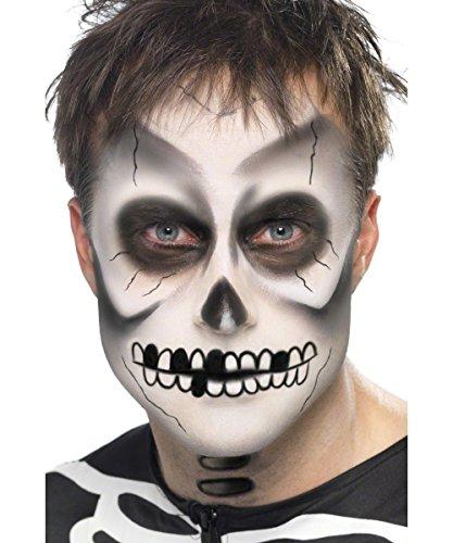 Smiffys Unisex Skelett Make-Up Set, Gesichtsfarbe, Schminkstifte und Schwamm, Schwarz und Weiß, 39093
