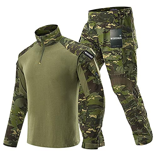 WISEONUS Ropa Airsoft Pantalones tacticos Militares Camiseta Caza Paintball Disparo BDU Hombre Camisas y Pantalones Multibolsillos Uniform