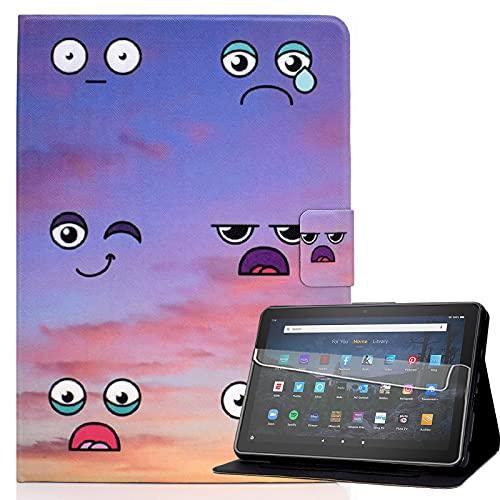 Billionn Funda para tablet Kindle Fire HD 10 y HD 10 Plus (11ª generación, 2021), con función de encendido y apagado automático y protector de pantalla, emoticonos