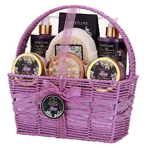 Spa Gift Basket for Women, Bath and Body Gift Set for her, Luxury 8 Piece,Lily & Lilac Scent,Best Gift for Mother's Day, Birthday, Christmas