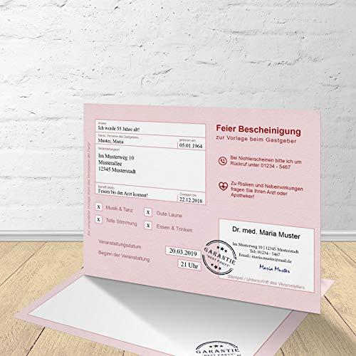 5 Krankenschein Karten zur Einladung zum Geburtstag mit passenden Umschlägen, Motiv
