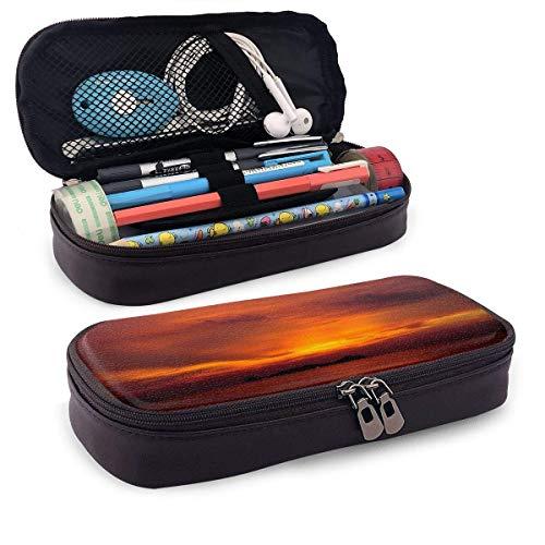 Lawenp Sunset Sea Leather Pencil Case for School Students Office Pen Pencils Box