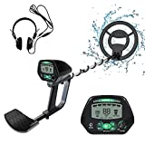 Weanas Metal Detector for Adults, IP68 Waterproof Metal Detector with High Accuracy, All Metal & Disc & Notch & Pinpoint Modes, Adjustable Light w/ Headphones and 10'' Waterproof Search Coil