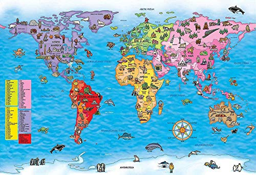 WXGiZDFH Puzzel 1000 Stukjes,Nautische Wereldkaart,Legpuzzels Educatief Speelgoed Voor Volwassen Kinderen Verjaardagscadeau