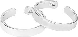 AccessHer 92.5-925 Sterling Silver Basic Plain Dailywear Mild Shine Toe rings for women and girls