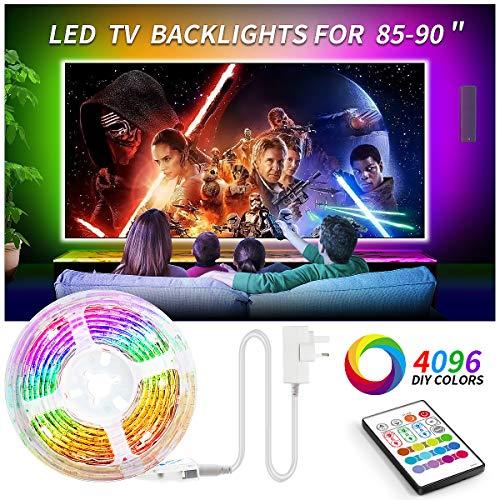 Led TV Hintergrundbeleuchtung, BASON 5.6m LED Strip RGB, DIY 4096 Farben Led Beleuchtung Fernseher mit Fernbedienung, LED Streifen für 85-90 Zoll TV/Wandhalterung Cinema Dekoration