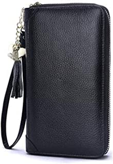 20 3.5 12 Size red Long Leather Zipper Portable Large Capacity Bag Kalmar RFID Travel Wallet for Women cm Stealth Mode Blocking Leather Wallet Color : Black, Size : 81.44.8 inch