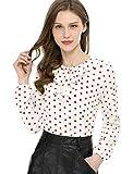 Allegra K Blusa Túnica Camisa Lunares Vintage Manga Larga Cuello De Volantes para Mujer Blanco Rojo S