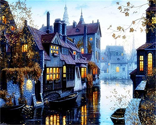 Paint by Numbers Kits DIY Oil Painting Home Decor Wall Value Gift - Night View of The Water City 16X20 Inch (No Frame)