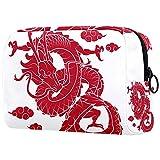 Bolsa de Maquillaje para niños Dragón Rojo Chino Accesorio de Viaje Neceser Pequeño Bolsas de Aseo Suave al Tacto Cosmético Organizadores de Viaje 18.5x7.5x13cm