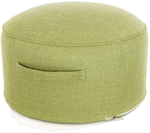 Fuß- & Polsterhocker Ottomane gepolsterte Fußhocker Runde Fußhocker mit Griff Kids Sofa Hocker Sitz Wohnzimmer Waschbare Änderung Schuhbank Haushalt Baumwollstoff Relatneat (Color : Grass Green)