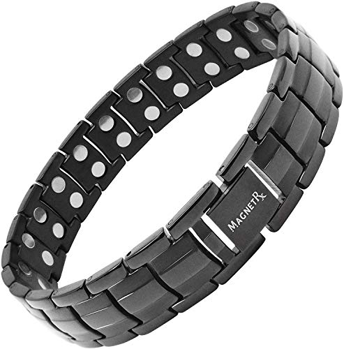 MagnetRX Ultra Strength Magnetic Therapy Bracelet - Arthritis Pain Relief and Carpal Tunnel Magnetic Bracelets for Men - Adjustable Length with Sizing Tool (Black)