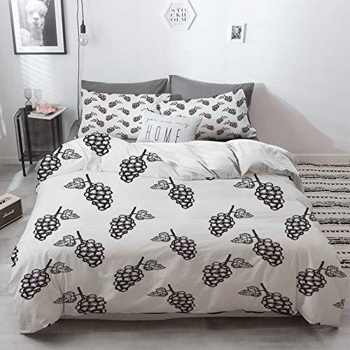 Duvet Cover Set, Bed Sheets, Mikrofaser, Trauben, handgezeichnete skizzenhafte Früchte Sommer reif simpel Landwirte Grafik Kunstwerk, gra,3 Piece Bedding Set with Pillow Shams,240 x 260cm