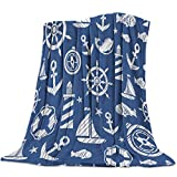 Meet 1998 Flannel Throw Blanket Anchor Boat Lighthouse Lightweight Fleece Bed Blanket Navy Blue Soft Warm Blanket All Season Sofa/Couch/Chair for Child Adults 50 x 80 inch
