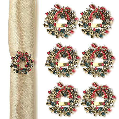 Napkin Rings, Napking Rings Holder Set of 6, Vintage Christmas Design Perfect for Christmas/Holiday/Family Gathering/Banquet, Wreath