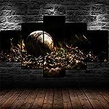 DBFHC Art Cuadros En Lienzo Viejo Bate De Béisbol Bola Hierba Decoracion De Pared 5 Piezas Modernos Mural Fotos para Salon Dormitori Baño Comedor 150X80Cm