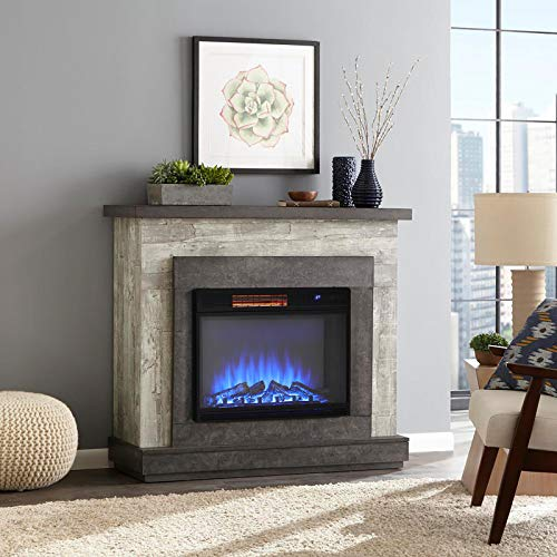 DKIEI Wall Mounted Fire Electric Fireplace Suite with Remote Control Carbon Log Fuel 3 Color Flame Effect, Fake Brick Wall Design Decor Insert Fireplace, Black (732x236x523mm)