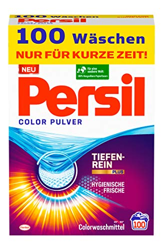 Persil Color Pulver, Colorwaschmittel, 100 Waschladungen, mit Tiefenrein-Plus Technologie und langanhaltender Frische, wirksam bei Temperaturen von 20°C - 60°C
