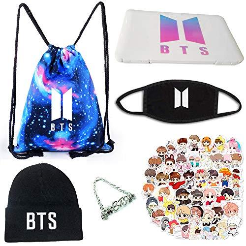 Kpop BTS Geschenk-Set für Army, BTS Merchandise-Set, Kordelzugbeutel, Schmuckschatulle, Maske, Hut, Handkatenarie, 40 Blatt Papier