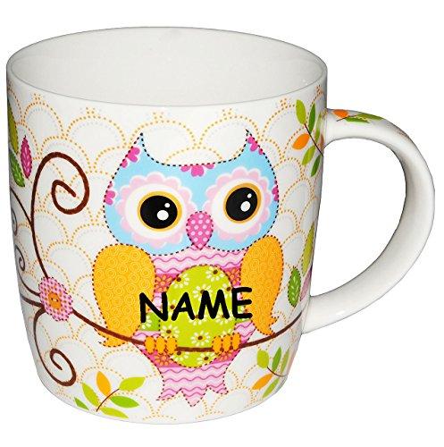 alles-meine.de GmbH Henkeltasse -  Eule  incl. Namen - groß - Keramik / Porzellan - Trinktasse mit Henkel - Tasse Becher - Porzellantasse Eulenmotiv Tassen / Kaffeetasse - Henk..