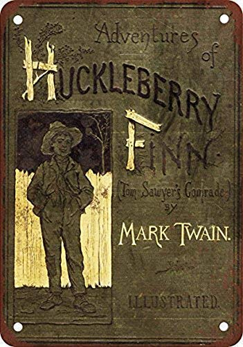 DKISEE Novelty Metal Standard, 1885 Huckleberry Finn First Edition Vintage Look Reproduction Aluminum Metal Sign Wall Decoration, Tin Sign 10x14 inch