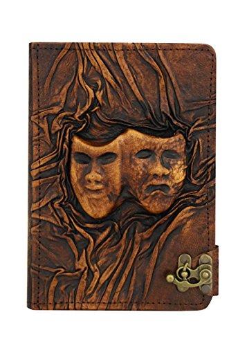 Een klein cadeau in reliëf gelukkig triest drama masker vintage echt leder Hardcover Flip Stand Case, portemonnee en slot voor iPad Mini 1/2/3 met Retina Display