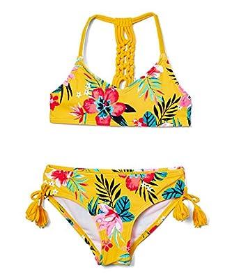 Kanu Surf Girls' Willow V-Neck Bikini Beach Sport 2-Piece Swimsuits, Brooke Mango, 8