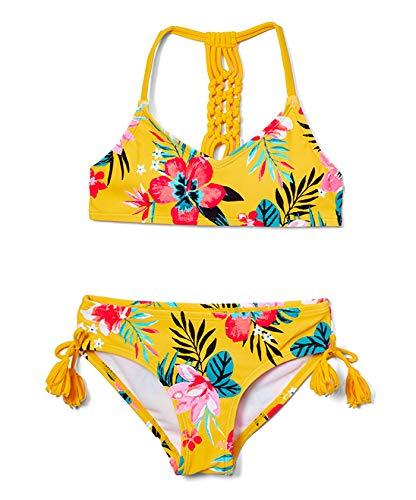 Kanu Surf Girls' Willow V-Neck Bikini Beach Sport 2-Piece Swimsuits, Brooke Mango, 12