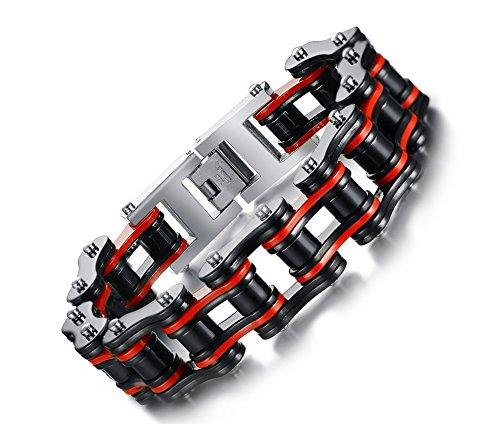 VNOX Les Hommes de Grande chaîne de Moto Moto Acier Inoxydable Lien Bracelet Rock Punk musclé,21.5cm
