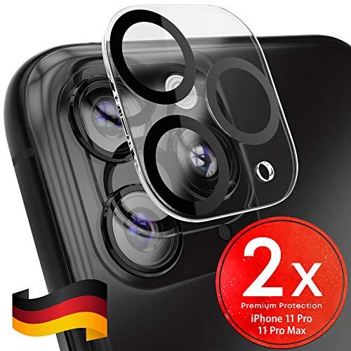 UTECTION 2X Kamera Glasfolie für iPhone 11 PRO, iPhone 11 PRO MAX - Einfache Anbringung, Anti Kratzer - Keine Beeinträchtigung von Blitz oder Sensoren - Kameraschutz Schutzglas - Glas Schutzfolie