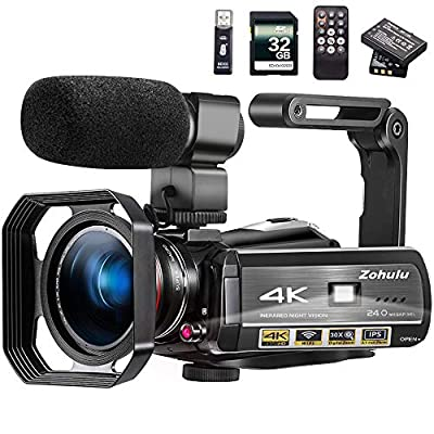 Video Camera 4K Camcorder ZOHULU Vlog Camera for YouTube, HD Digital Camera with 30X Digital Zoom and Night Vision, Video Recorder with Microphone, Wide Lens (32GB SD Card, 2 Batteries Included) by Ancter