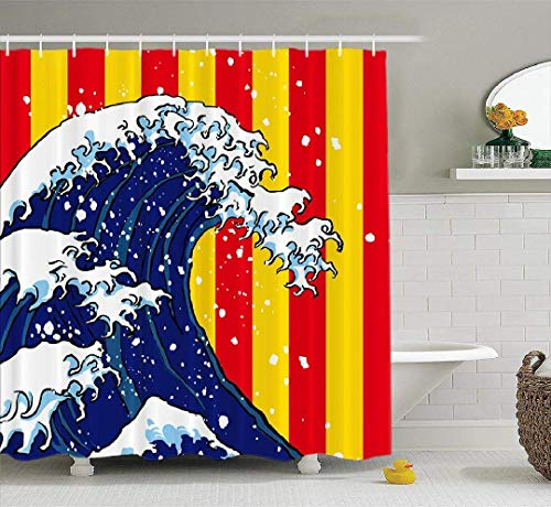 Cortina de ducha Hokusai Wave Ola tradicional japonesa Obra de arte antiguo Asiático Big Blue Decoración para el hogar Cortina de ducha de tela Baño Cortina de baño de poliéster con 12 ganchos