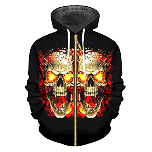Mujeres/Hombres Prin Broken Skull Hoodies Chaqueta Moda Zip Sudadera con Capucha Outwears Broken Skull 5XL