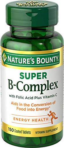 Vitamin B Complex by Nature's Bounty, Super B Complex Vitamins w/ Vitamin C for Immune Support and Folic Acid, 150 Tablets