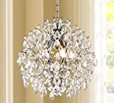 Bestier Modern Pendant Chandelier Crystal Raindrop Lighting Ceiling Light Fixture Lamp for Dining Room Bathroom Bedroom Livingroom entryway 3 E12 Bulbs Required D16 in x H18 in