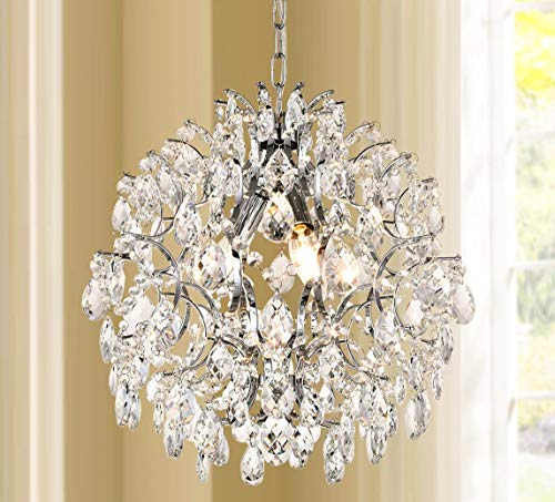 Bestier Modern Pendant Chandelier Crystal Raindrop Lighting for Dining Room Bathroom with 3 E12 Bulbs Required D16 in x H18...