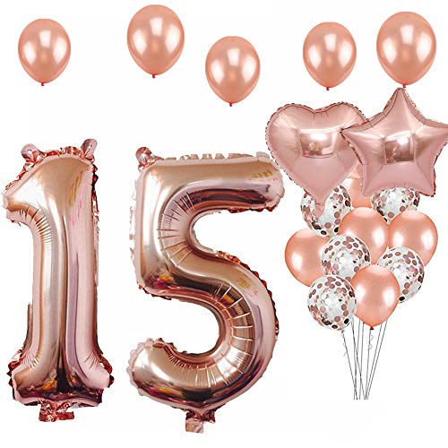15th Birthday Decorations Party Supplies, Jumbo Rose Gold Foil Balloons for Birthday Party Supplies,Anniversary Events Decorations and Graduation Decorations Sweet 15 Party,15th Anniversary
