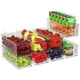 FINEW Kühlschrank Organizer 8er Set, Stapelbare Aufbewahrungsbox, Klein Kühlschrank Boxen mit Griff, durchsichtig Behälter für Küchen, Schränke, Gefrierschrank, Speisekammer - BPA Frei