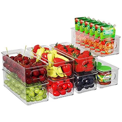 FINEW Kühlschrank Organizer 8er Set (Klein), Stapelbare Aufbewahrungsbox, Kühlschrank Boxen mit Griff, durchsichtig Behälter für Küchen, Schränke, Gefrierschrank, Speisekammer - BPA Frei